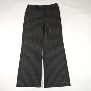LOFT Ann Flare Size 6 Gray Striped Dress Pants